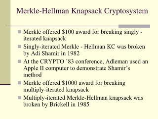 Merkle-Hellman Knapsack Cryptosystem