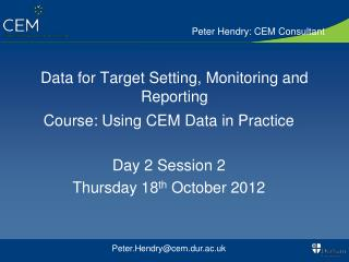 Data for Target Setting, Monitoring and Reporting