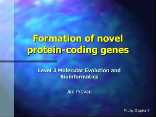 Formation of novel protein-coding genes