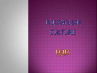 The English culture