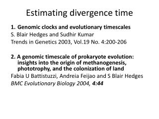 Estimating divergence time