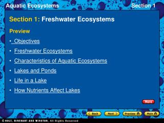 Section 1:  Freshwater Ecosystems