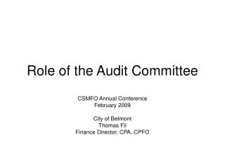 Role of the Audit Committee