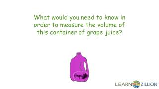 What would you need to know in order to measure the volume of this container of grape juice?