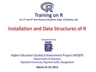 Training  on  R For 3 rd  and 4 th  Year  Honours  Students, Dept. of Statistics, RU