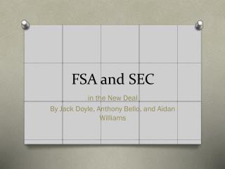 FSA and SEC