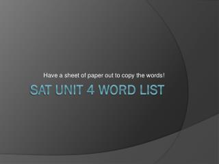 SAT Unit 4 Word List
