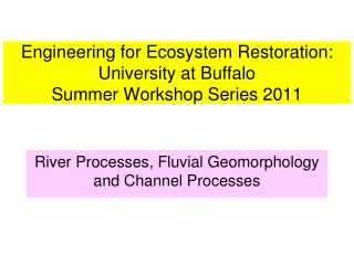 Engineering for Ecosystem Restoration:  University at Buffalo Summer Workshop Series 2011