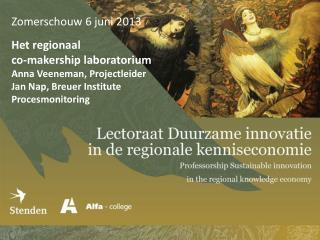 Zomerschouw 6 juni 2013 Het regionaal co- makership  laboratorium  Anna Veeneman, Projectleider