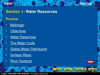 Section 1:  Water Resources