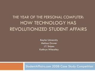The Year of the Personal Computer: How Technology has Revolutionized Student Affairs