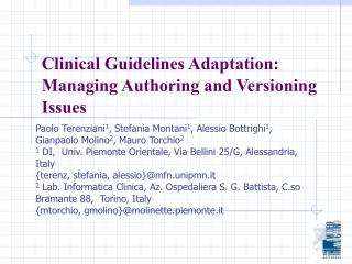 Clinical Guidelines Adaptation: Managing Authoring and Versioning Issues