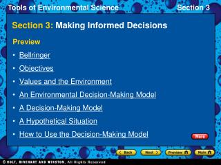 Section 3:  Making Informed Decisions