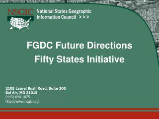 FGDC Future Directions Fifty States Initiative