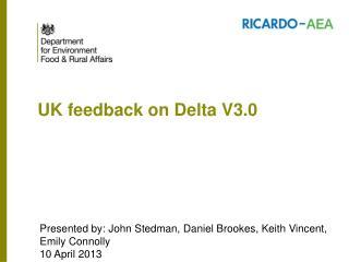 UK feedback on Delta V3.0