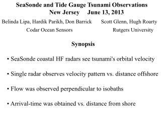 SeaSonde  and Tide Gauge Tsunami Observations       New Jersey     June 13, 2013