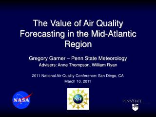 The Value of Air Quality Forecasting in the Mid-Atlantic Region