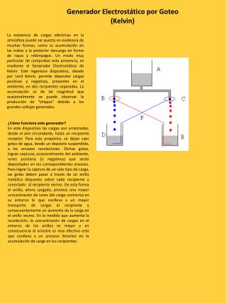 Generador Electrostático por Goteo  (Kelvin)