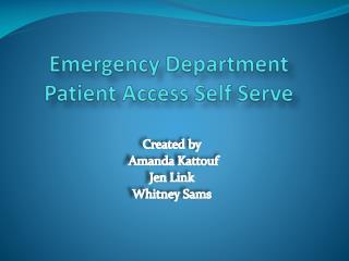 Emergency Department Patient Access Self Serve