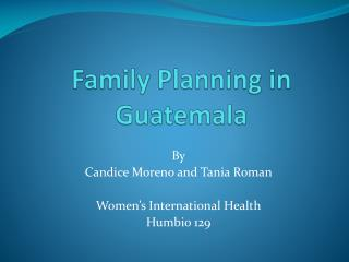 Family Planning in Guatemala