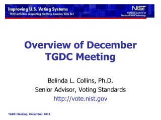Overview of December TGDC Meeting
