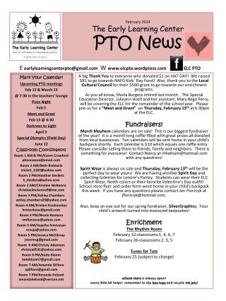February 2014 The Early Learning Center PTO News