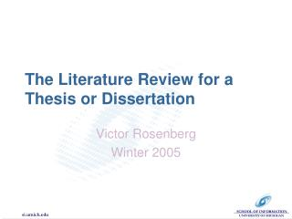 The Literature Review for a Thesis or Dissertation