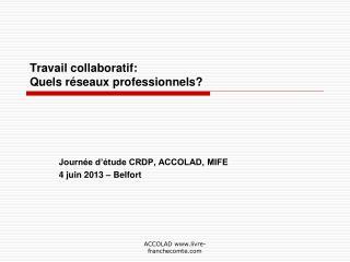 Travail collaboratif:  Quels réseaux professionnels?