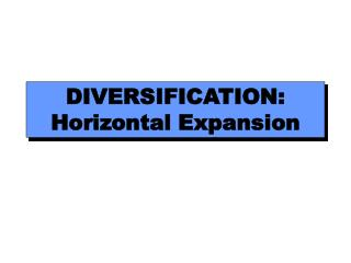 DIVERSIFICATION: Horizontal Expansion