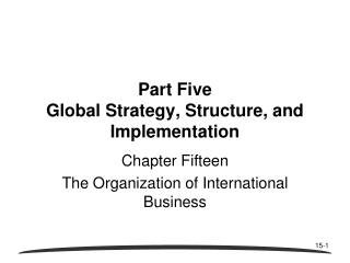 THE ORGANIZATION OF INTERNATIONAL BUSINESS
