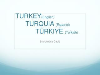 TURKEY ( English) TURQUIA  ( Espanol ) Türkiye (Turkish )