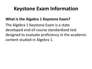 Keystone Exam Information