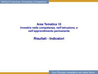 Area Tematica 10  Investire nelle competenze, nell'istruzione, e nell'apprendimento permanente