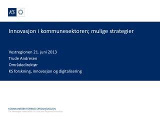 Innovasjon i kommunesektoren; mulige  strategier