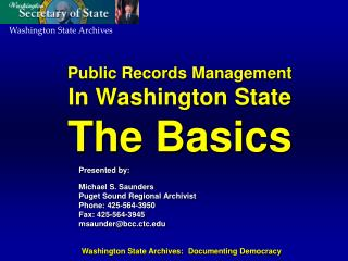 Public Records Management In Washington State The Basics