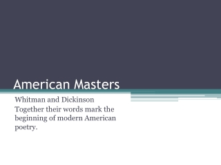 American Masters Walt Whitman and Emily Dickinson