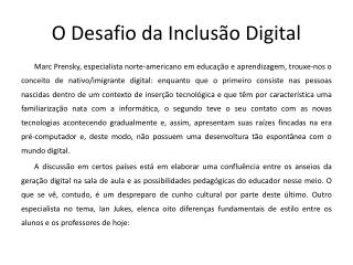 O Desafio da Inclusão Digital