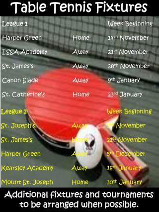 Table Tennis Fixtures