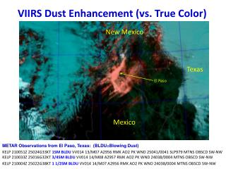 VIIRS Dust Enhancement (vs. True Color)