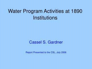 Water Program Activities at 1890 Institutions