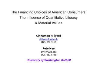 Cinnamon Hillyard chillyard@uwb (425) 352-3169 Pete Nye pnye@uwb  (425) 352-5383