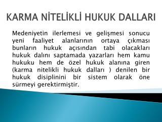 KARMA NİTELİKLİ HUKUK  DALLARI