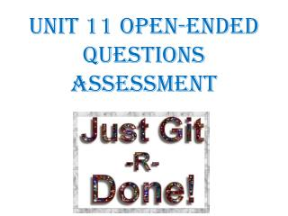 Unit 11 Open-Ended Questions ASSESSMENT