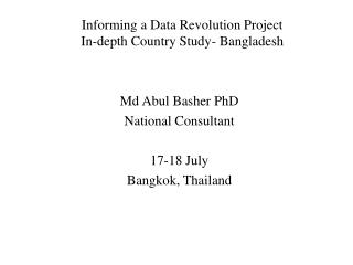 Informing a Data Revolution Project In-depth Country Study- Bangladesh