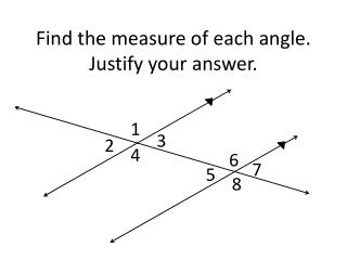 Find the measure of each angle. Justify your answer.