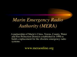 Marin Emergency Radio Authority (MERA)