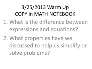 3/25/2013 Warm Up COPY in MATH NOTEBOOK