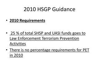 2010 HSGP Guidance