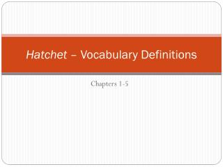 Hatchet  – Vocabulary Definitions