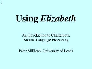 Using  Elizabeth